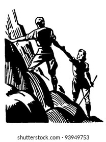 Couple Mountain Climbing - Retro Clipart Illustration