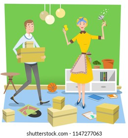 Couple moving, man carrying cardboard boxes, woman cleaning (vector illustration)