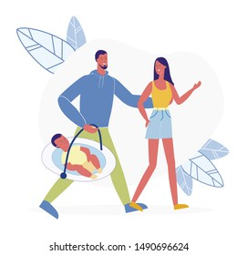 Couple with Newborn Child Flat Vector Illustration. Young Family, Mom, Dad and Infant Cartoon Characters. Happy Parenthood, Husband and Wife with Baby Carrier. Parents with Toddler on Stroll