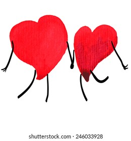 Couple Off Red Watercolor Vector Hearts Dancing Together Happiness Concept Love Template