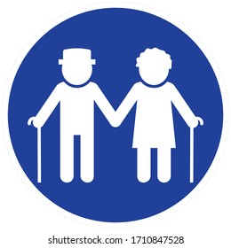 Couple of old people, man and woman with stick. White silhouette of two pensioners on blue circle background.