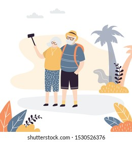 Couple of old tourists take selfies on a background of exotic nature. Grandfather and grandmother on  seascape background. Trendy style vector illustration