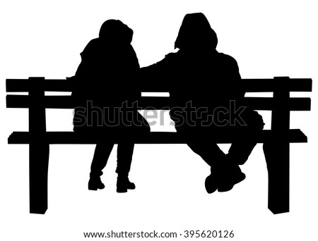 Couple On Bench Two Lovers Sitting Stock Vector Royalty Free