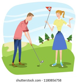 Couple on golf course, man about to hole a ball, woman holding flag (vector illustration)