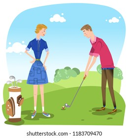 Couple on golf course, man about to hit a tee shot, woman with golf bag (vector illustration)