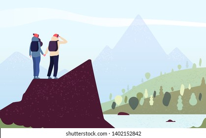 Couple on mountain. Happy woman, man climbers. Female hikers standing on rock look mountain landscape. Trekking outdoor vector concept