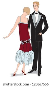 Couple on party. Flapper girl with her man (1920's style): Retro fashion party