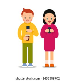Couple on phones. Young man and woman are standing holding phones in their hands and looking at the screens. Beautiful happy smiling people. Illustration isolated in flat style white background.