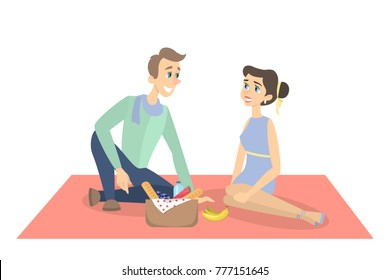 Couple on picnic sitting on the blanket on white background.