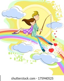 Couple on rainbow catching love heart