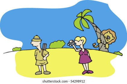 couple on safari in Africa. Man hunts. Woman looking through binoculars. Lion hiding behind a palm tree. Painted parts are easily changed or removed