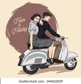 Couple on a scooter. Happy riding together. retro illustration
