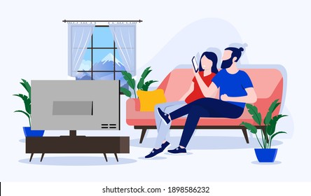 Couple on sofa - Man and woman at home watching Tv and looking at phone. Domestic life concept. Vector illustration.