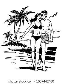 Couple On Tropical Beach - Retro Clip Art Illustration