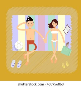 Couple on tropical beach - vector characters. Top view couple on beach on beach towels romance lovers holiday travel lifestyle. Happy hollyday together
