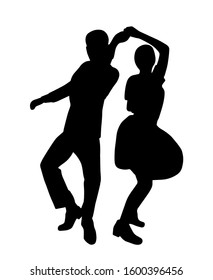 Couple on vintage retro swing jazz party. Silhouette isolated. People in 40s or 50s style dancing rockabilly,charleston,jazzlindy hop or boogie woogie. Vector human illustration in black white colors.