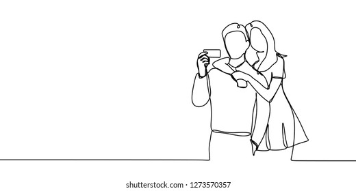 Couple one line drawing continuous style vector illustration. A man holding credit card standing with his girlfriend.