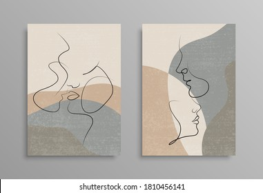 Couple one line drawing design. Vector isolated cover poster design. Love print. Couple kissing line drawing. Stock vector. EPS 10