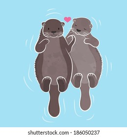 Couple otter, vector illustration