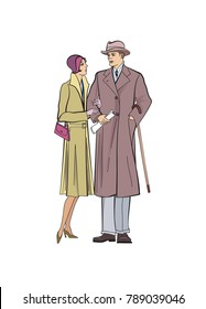 Couple outdoor. Man and woman in outwear dress in vintage style 1920's. Portrait of an attractive flapper girl with her boyfriend. Retro fashion  illustration isolated on white background.