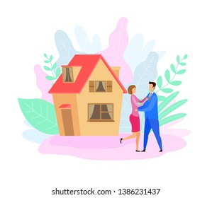 Couple Outside House Flat Vector Illustration. Husband in Suit and Wife Cartoon Characters. Happy Homeowners, Landlords. Married Pair Hugging. Cottage Purchase Celebration. Romantic Relationship