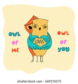 a couple of owls hug and show heart inscription owl of me loves owl of you