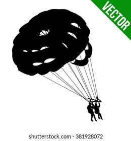 Couple parasailing silhouette on white background, vector illustration