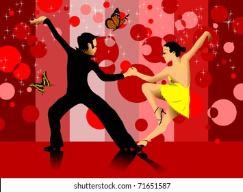 couple participates in competitions in sport dancing (vector);