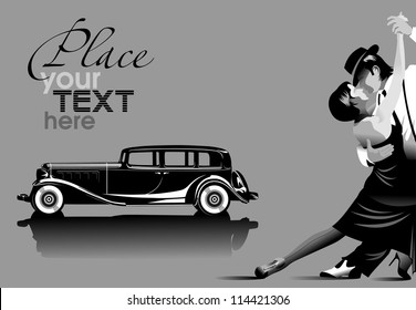couple participates in competitions in tango in the dark (vector);