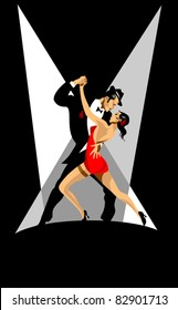 couple participates in competitions in tango in the dark (vector)