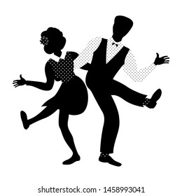 Couple of people dancing charleston. 1940s and 1950s style. Woman with flower in hair and man with bow tie. Flat vector illustration in black and white colors.