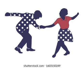 Couple people dancing jazz swing isolated on white background. Elegant silhouette humans.Vintage vector style 1950s,1960s.Realistic,stylistic characters.Rockabilly,charleston, lindy hop,boogie woogie.