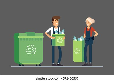 Couple of people gathering garbage and plastic waste for recycling. Service recycling