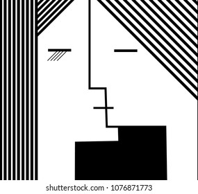 couple of people in geometric shape, kiss concept black and white, vector