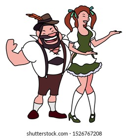 couple of people with german traditional dress on white background vector illustration design
