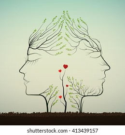 couple of people look like tree branches silhouettes with sprouts of red heat,  love idea, two profiles of lowers concept, vector