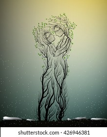 couple of people look like tree branches silhouettes, two profiles of lowers concept,tree hug each other, vector