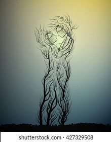 couple of people look like tree branches silhouettes, family concept, tree hug each other, vector