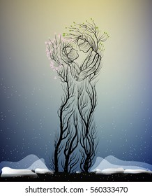 couple of people look like tree branches silhouettes, two lovers concept, tree hug each other in cold winter weather, vector