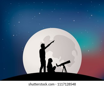 Couple of people on the full Moon background.
