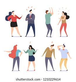 Couple of a People Quarrel and Swear. Quarrelling and Making a Public Scandal. Aggressive Angry Man and Woman Yell at Each Other. Flat Modern Style Set Vector Illustration