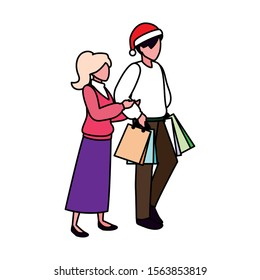 couple of people with shopping bag on white background illustration design