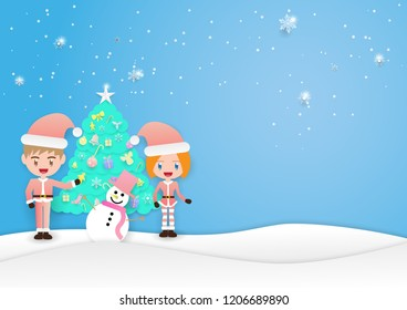 couple people, snow man and christmas tree on blue background,merry christmas,happy new year.
