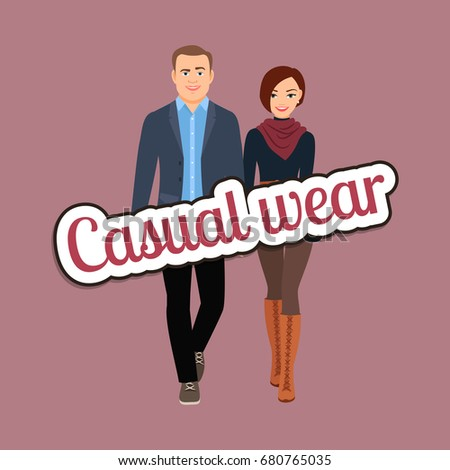 c31fc76f Couple People Spring Tones Casual Wear Stock Vector (Royalty Free ...