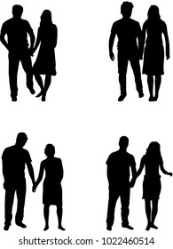 Couple of  people,black silhouette.
