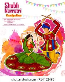 Couple performing Garba dance in Dandiya Raas for Dussehra or Navratri in vector