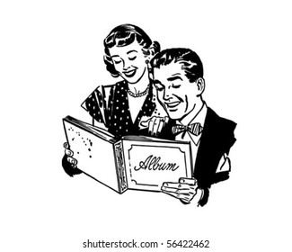 Couple With Photo Album - Retro Clip Art