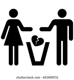 Couple pictogram icon separating playing heart broken in the trash. Ideal for catalogs, information and institutional material