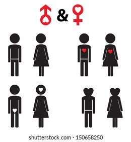 Couple pictogram with red heart - black and red vector illustration