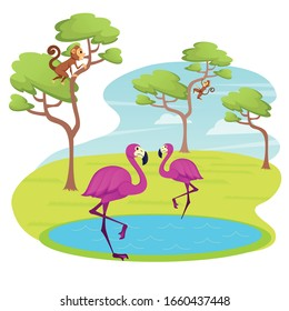 Couple of Pink Flamingo Stand on Lake Water Surface, Monkey Jumping on Trees. Beautiful Exotic Tropical Birds in Zoo or Animal Park. Cute Characters Decoration Element Cartoon Flat Vector Illustration